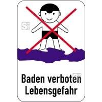 Sonderschild, Baden verboten, Lebensgefahr, 400 x 600 mm