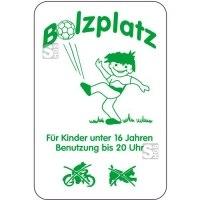 Sonderschild, Bolzplatz, Für Kinder unter 16 Jahren, Benutzung bis 20 Uhr, 400 x 600 mm