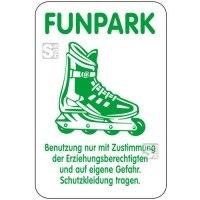 Sonderschild, FUNPARK, Benutzung nur mit Zustimmung der Erziehungsberechtigten ..., 400 x 600 mm