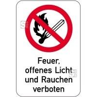 Sonderschild, Feuer, offenes Licht und Rauchen verboten, 400 x 600 mm