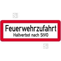 Sonderschild, Feuerwehrzufahrt, Haltverbot nach StVO, 597 x 210 mm