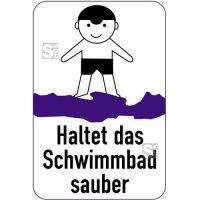 Sonderschild, Haltet das Schwimmbad sauber, 400 x 600 mm