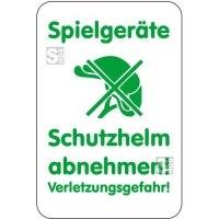 Sonderschild, Spielgeräte, Schutzhelm abnehmen!, Verletzungsgefahr!, 400 x 600 mm
