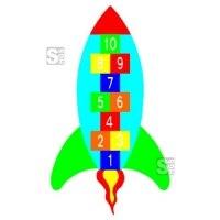 Spielplatzmarkierung Hüpfspiel DecoMark® -Rakete- aus Thermoplastik