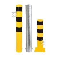 Stahlrohrpoller / Rammschutzpoller -Bollard- Ø 152 mm, Stahl, feststehend, wahlweise gelb / schwarz