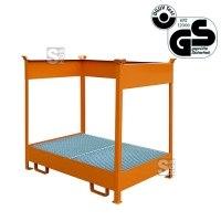 Stapelpalette für Fässer -S2263-, aus Stahl, Tragkraft 600 kg, 1410 x 1495 x 920 mm, GS-geprüft