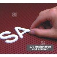 Steckbuchstaben -FO 28-, 177 Buchstaben und Zeichen, Höhe 28 mm, verkehrsweiß, entgratet