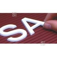 Steckbuchstaben -Flexomedia- nach Einzelaufstellung, verkehrsweiß