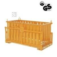Steintragkorb -S1041- mit Holzrost und Sicherung gegen selbstständiges Öffnen, 350-640 Liter