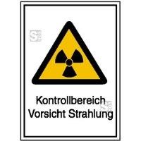 Strahlenschutzschild mit Warnzeichen und Zusatztext, Kontrollbereich Vorsicht Strahlung