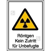 Strahlenschutzschild mit Warnzeichen und Zusatztext, Röntgen Kein Zutritt für Unbefugte