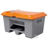 Streugutbehälter -CEMO Plus 3- aus GFK, 100 - 400 Liter, Deckel orange, mit oder ohne Entnahmeöffnung, wahlweise mit Staplertaschen