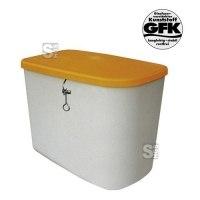 Streugutbehälter -CEMO kompakt- aus GFK, 130 Liter, Behälter grau, Deckel orange