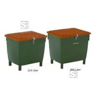 Streugutbehälter -Grit- aus PE mit Edelstahlrahmen, 210 oder 400 L, optionale Entnahmerutsche