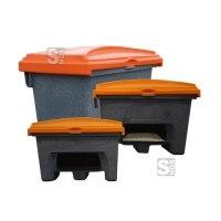 Streugutbehälter P-Box aus Stonecor®, Volumen 200, 400 u. 800 Liter, wahlweise mit oder ohne Entnahmeöffnung, lebensmittelecht, emissionsfrei, stapelbar