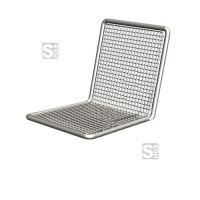Stuhl -Priority- mit Rückenlehne, aus Stahl, Sitz- und Rückenfläche aus Drahtgitter, wahlweise zur Sockel- oder Wandbefestigung