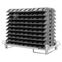 Transport- und Lagerpalette für 30 Fußplatten, staplergeeignet