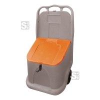 Transportbox aus Polyethylen, 75 Liter, mobil auf 2 Gummirädern, grau