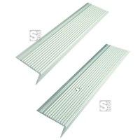 Treppenkantenprofil aus Aluminium, geriffelt, Winkelmaß 40 x 20 mm, Länge 1000 oder 2700 mm