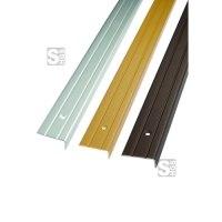 Treppenkantenprofil aus Aluminium, profiliert, Winkelmaß 25 x 10 mm, Länge 1000 oder 2700 mm
