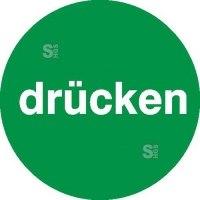 Türschild Drücken, einseitig, selbstklebende Folie, grün