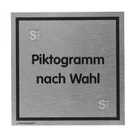 Türschild -Tello- aus Aluminium, 110x110mm, selbstklebend, Text / Piktogramm nach Wahl
