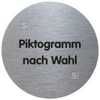 Türschild -Tello- aus Aluminium, Ø 70 mm, selbstklebend, Text / Piktogramm nach Wahl