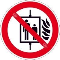 Verbotsschild, Aufzug im Brandfall nicht benutzen