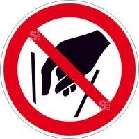 Verbotsschild, Hineinfassen verboten