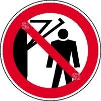 Verbotsschild, Hinter den Schwenkarm treten verboten