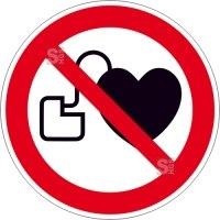 Verbotsschild, Kein Zutritt für Personen mit Herzschrittmachern oder implantierten Defibrillatoren