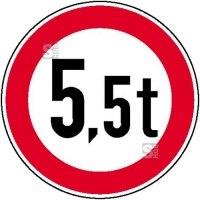 Verkehrsschild, Verbot für Fahrzeuge über ein bestimmtes Gesamtgewicht (individuelle Gewichtsangabe)