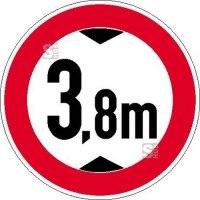 Verkehrsschild, Verbot für Fahrzeuge über eine bestimmte Höhe (individuelle Höhenangabe)