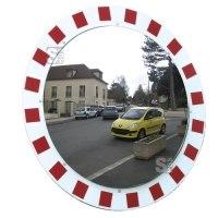 Verkehrsspiegel Vialux®, Edelstahl, mit rot / weißem Rahmen