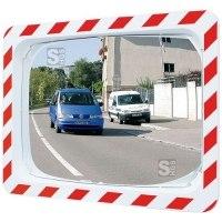 Verkehrsspiegel Vialux® mit rot / weißem Rahmen, eckig