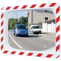 Verkehrsspiegel Vialux® mit rot / weißem Rahmen, gem. EG-Richtlinie CE 92 / 58