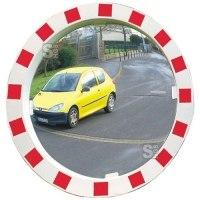 Verkehrsspiegel Vialux® mit rot / weißem Rahmen, rund