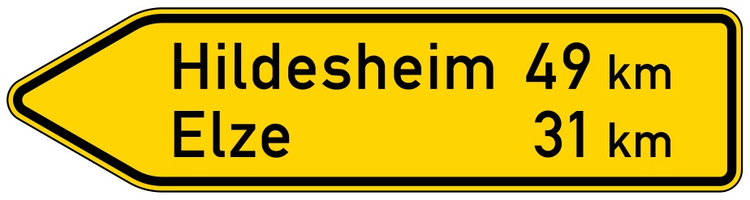 Verkehrszeichen 418-10 StVO, Pfeilwegweiser auf sonstigen Straßen, linksweisend, Höhe 350 mm, einseitig, Schrifthöhe 105 mm, einzeilig
