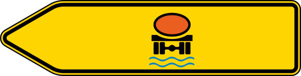 Verkehrszeichen 421-12 StVO, Pfeilwegweiser für Fahrzeuge m. wassergef. Ladung, linksweisend, einseitig