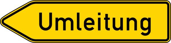Verkehrszeichen 454-10 StVO, Umleitungswegweiser, einseitig, linksweisend