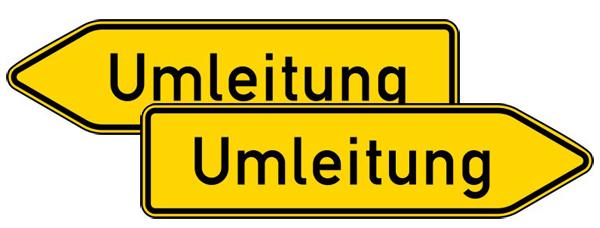 Verkehrszeichen 454-40 StVO, Umleitungswegweiser, doppelseitig