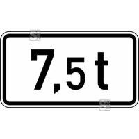 Verkehrszeichen StVO, Angabe der zulässigen Gesamtmasse (... t) Nr. 1053-33