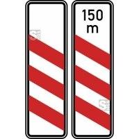 Verkehrszeichen StVO, Dreistreifige Bake (Aufstellung links) Nr. 157-20 / 157-21