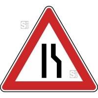 Verkehrszeichen StVO, Einseitig verengte Fahrbahn, Verengung rechts Nr. 121-10