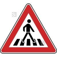 Verkehrszeichen StVO, Fußgängerüberweg, Aufstellung links Nr. 101-21