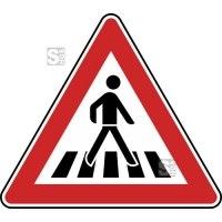 Verkehrszeichen StVO, Fußgängerüberweg, Aufstellung links Nr. 145-22