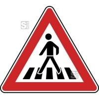 Verkehrszeichen StVO, Fußgängerüberweg, Aufstellung rechts Nr. 101-11