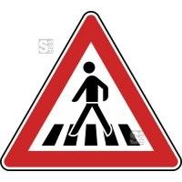 Verkehrszeichen StVO, Fußgängerüberweg, Aufstellung rechts Nr. 145-12