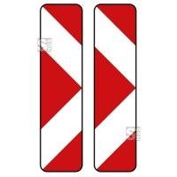 Verkehrszeichen StVO, Pfeilbake, doppelseitig, rechts / rechtsweisend Nr. 605-43