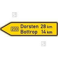 Verkehrszeichen StVO, Pfeilwegweiser auf Bundesstraßen, linksweisend, Höhe 350 mm, einseitig, Schrifthöhe 105 mm, einzeilig Nr. 415-10
